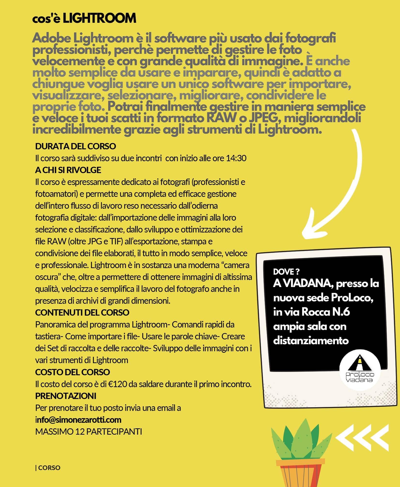 Proloco Viadana - laboratori - corso base di lightroom - programma