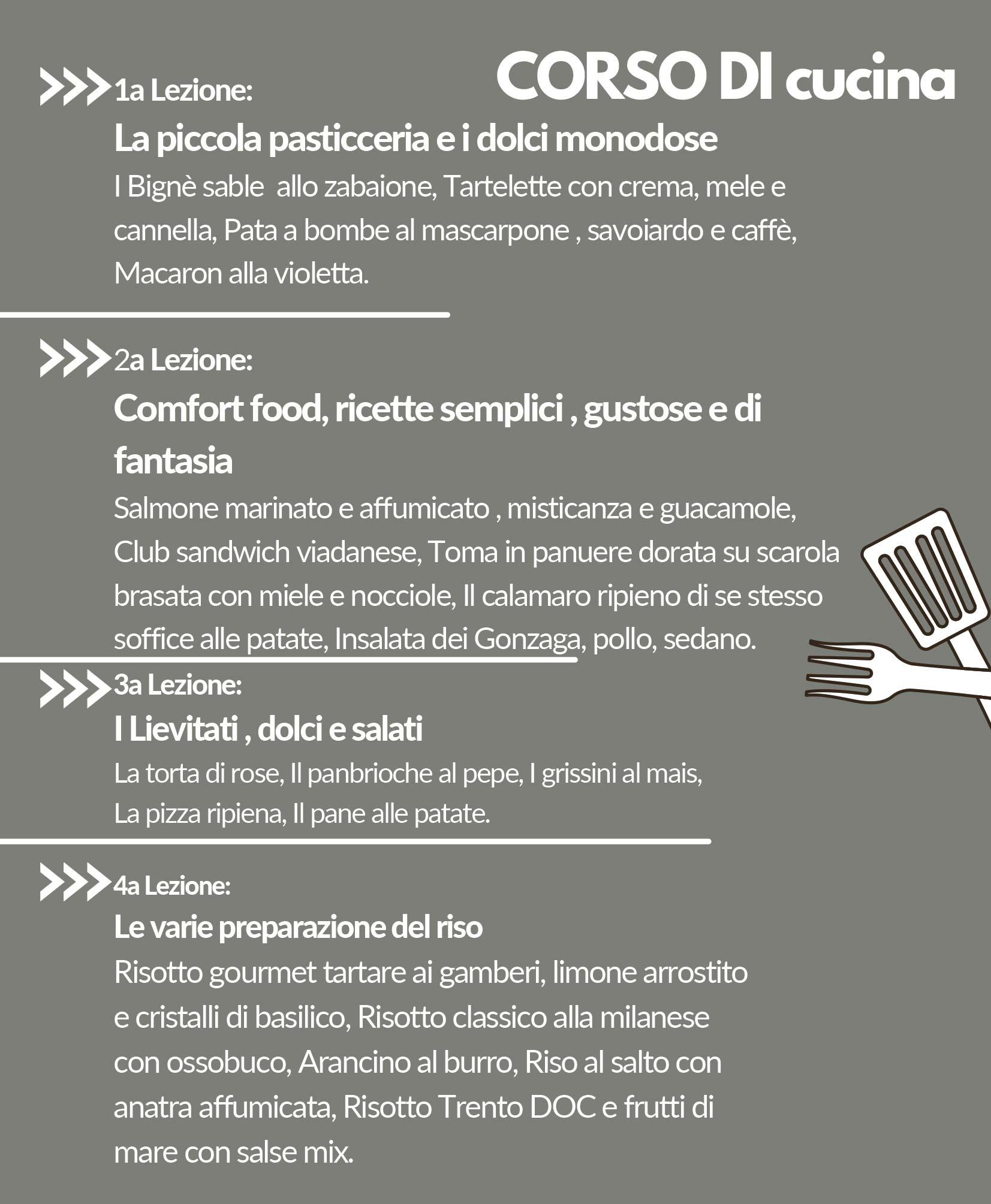 Proloco Viadana - Laboratori - Corso di cucina - Programma